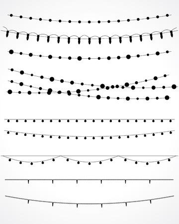 Kerstverlichting geïsoleerd op wit. vector set Stockfoto - 33881863
