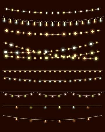 christmas lights on dark background. vector set