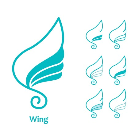 simple sky: wings abstract logotype