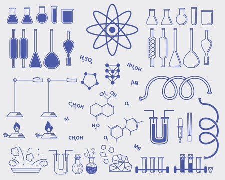chemistry subjects vector set