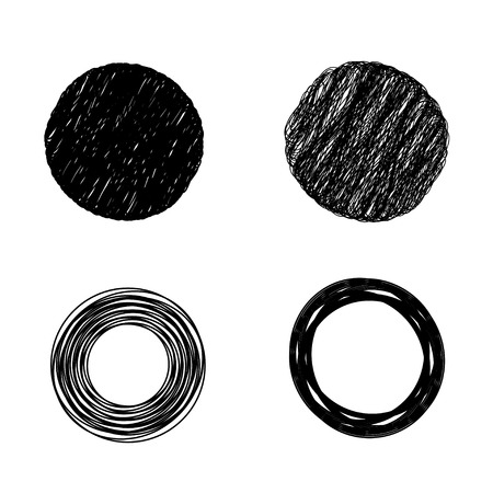 woven label: scribble circles isolated on white background