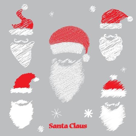 red beard: mustache, hat and beard Santa Claus. vector set