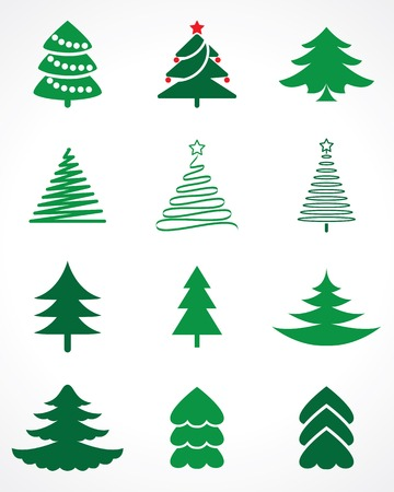 pine decoration: christmas tree vector set