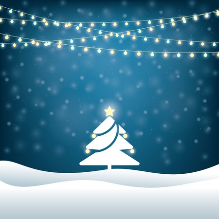 christmas illuminations: christmas tree lighted garlands. festive background Illustration