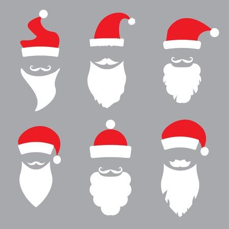 hats and beards Santa. vector set