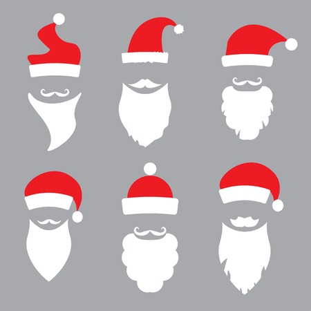 hats and beards Santa. vector set