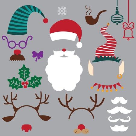 christmas hats, beards, mustache, horns. vector set