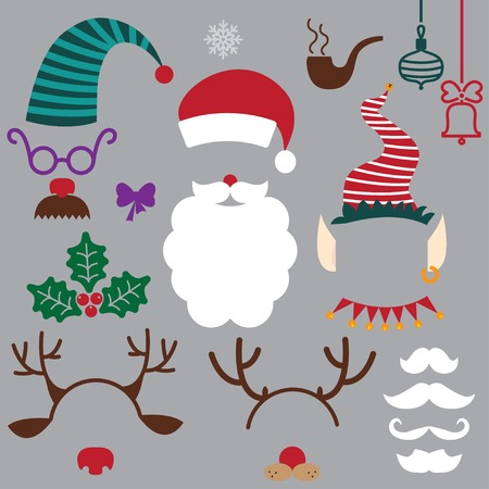 christmas hats, beards, mustache, horns. vector set