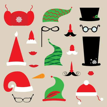 elf hat: christmas clothes for collage. hats, mustache, glasses Illustration