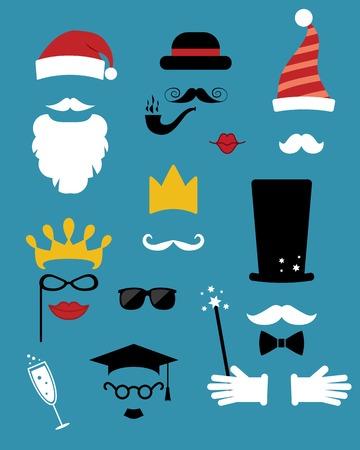 hubcap: photo props. hats, mustache, glasses
