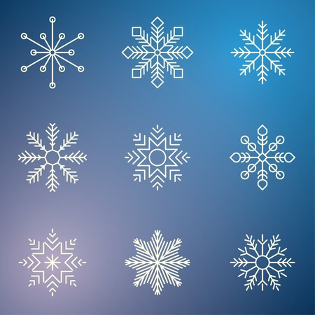 snow crystals: snowflakes on blue