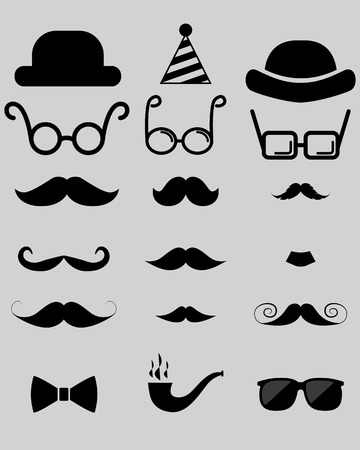 object with face: hipster photo props. hats, mustaches, glasses Illustration