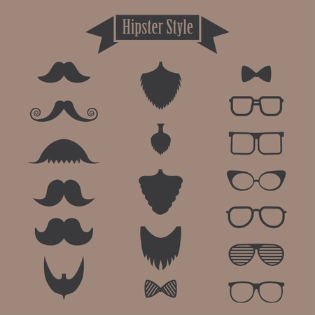 hipster set of mustache, beard and glasses Vector