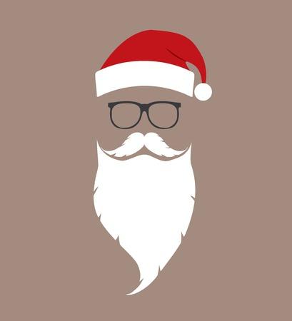 chapeau, barbe et des lunettes de Santa