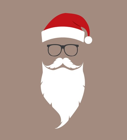 claus: hat, beard and glasses Santa