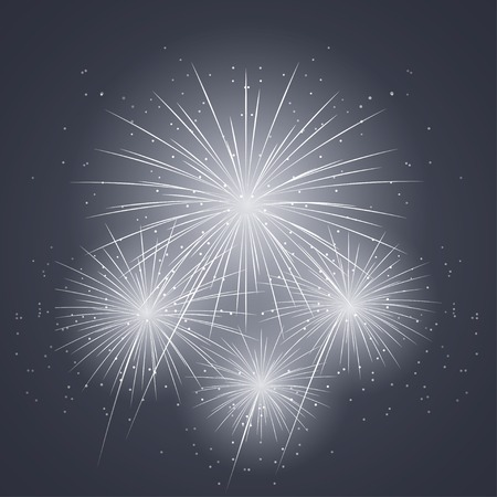 works: new years fireworks in the dark blue sky