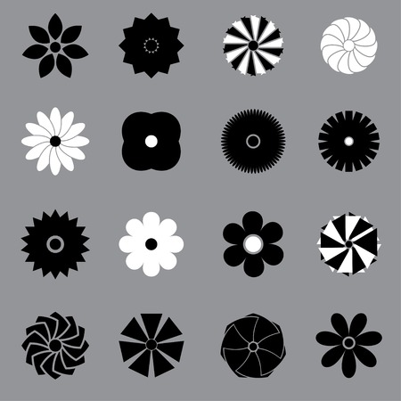 retro flowers set on grey background Vector