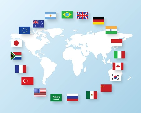 flags of the G20. The Group of Twenty flags Vectores