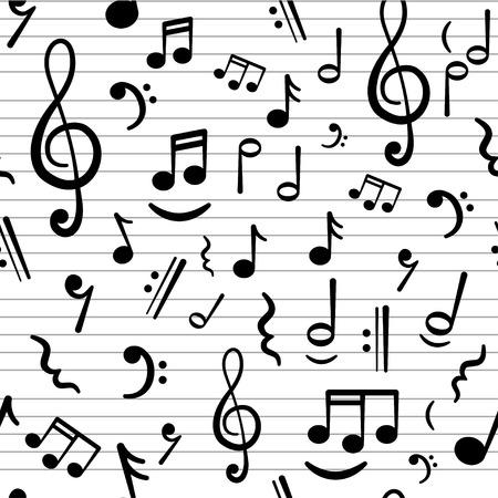 iconos de m�sica: notas de la m�sica abstracta de fondo sin fisuras Vectores