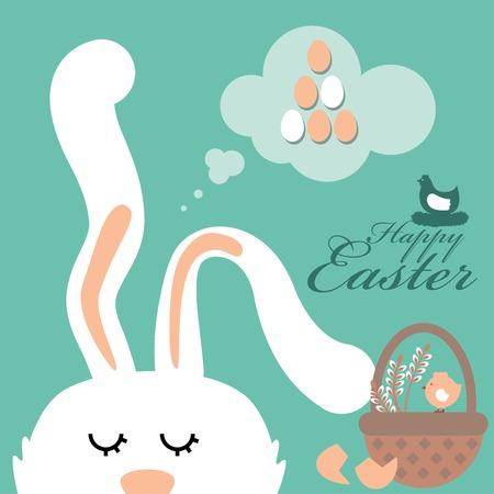 easter bunny dreams background Vector