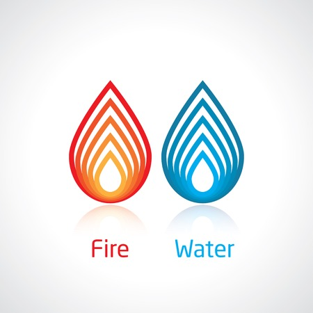 blue fire: flame and water abstract symbol