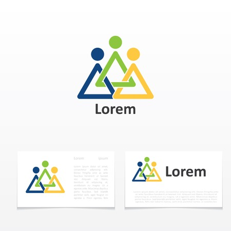 leadership: business card template with icon abstract symbol