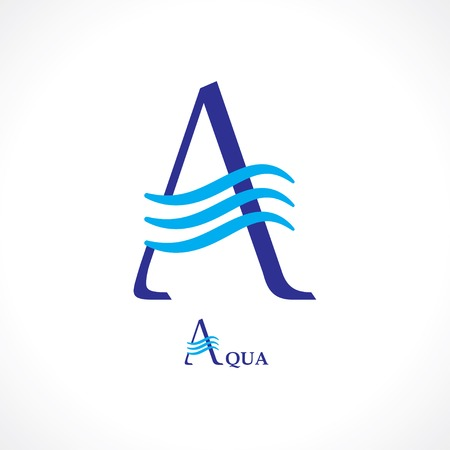 water logo: symbol of letter a. logo design element