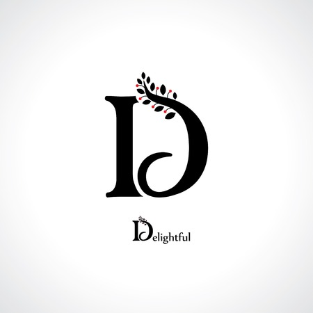 a d: letter d in floral style