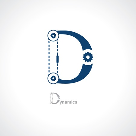 letter d in tech style Vector