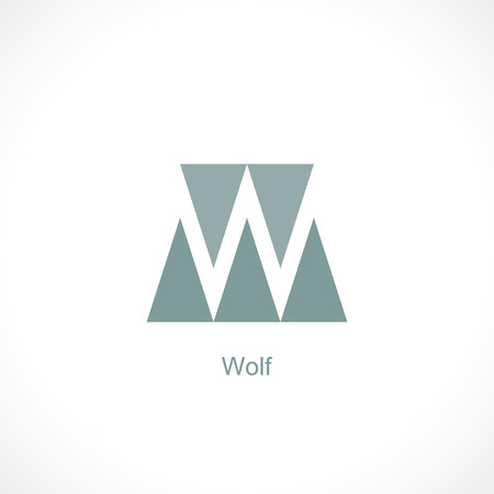 triangle button: letter w. abstract vector symbol