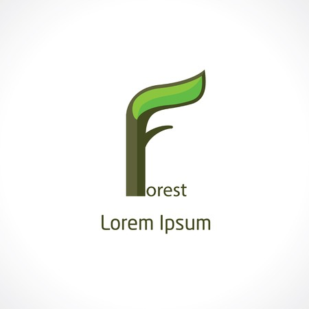 eco logo: letter f. logo design in eco forest style