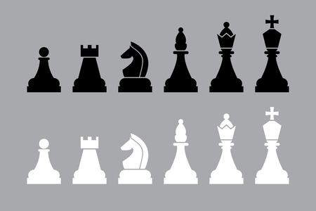 caballo de ajedrez: en blanco y negro piezas de ajedrez. conjunto de vectores