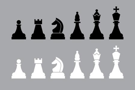 bishop chess piece: white and black chess pieces. vector set