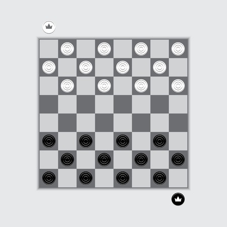 American Checkers Or Russian Draughts Game. White And Black Pieces ...