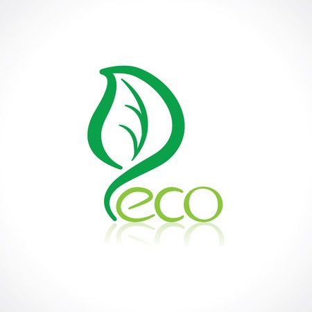 eco symbol in the shape of a green leaf Vector