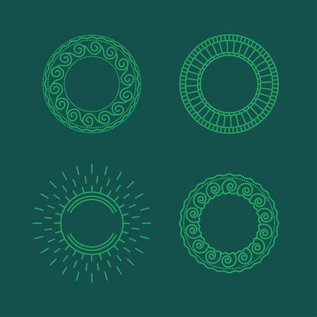 fine lines: contour circle frames of fine lines Illustration