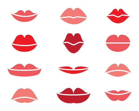 lips kiss: vector set of red female lips