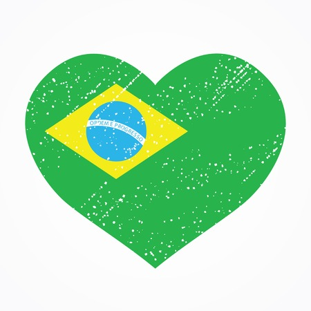t shirt print: Patriotic emblem of Brazil in the shape of a heart