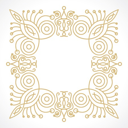 leaf line: floral frame in monogram line style with space for text