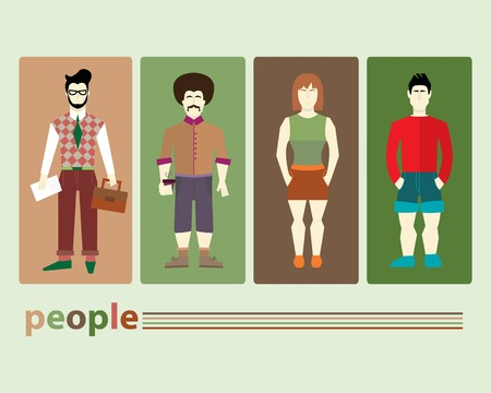 people in different clothes Illustration