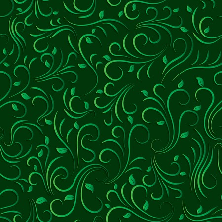 victorian christmas: green floral seamless pattern Illustration