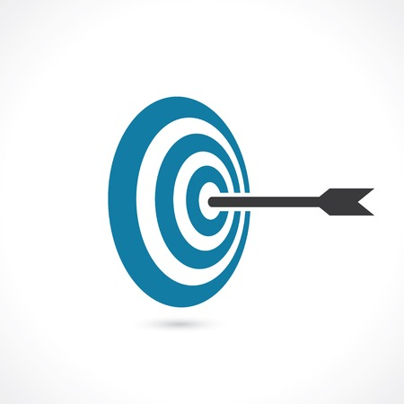 goal: arrow hit right on target. concept of achieving the goal. vector icon