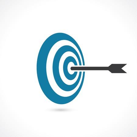 metas: flecha golpe� justo en el blanco. concepto de alcanzar el objetivo. icono de vector