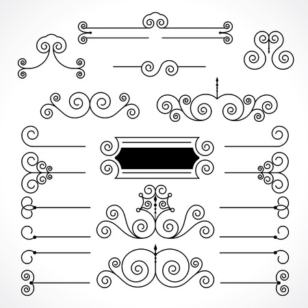 dividing lines: vintage decorative elements in calligraphic style. frame, dividing lines and patterns