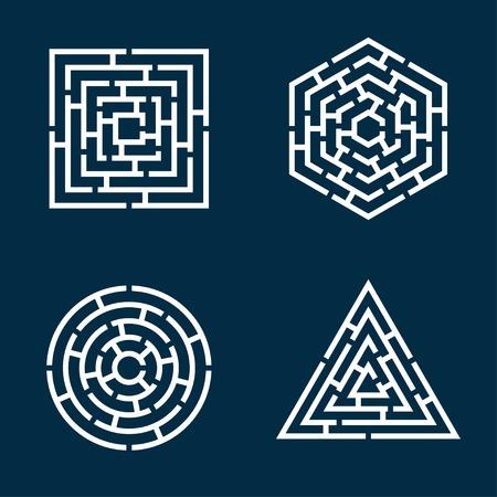 사각형, 원, 삼각형, 육각형 미로의 추상 모양