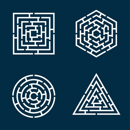 puzzles: abstract shapes of square, circle, triangle, hexagon maze