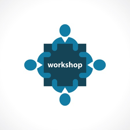 workshop seminar: workshop icon. concept symbol Illustration
