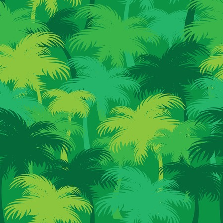 thickets: palm thickets. green tropical jungle seamless pattern Illustration