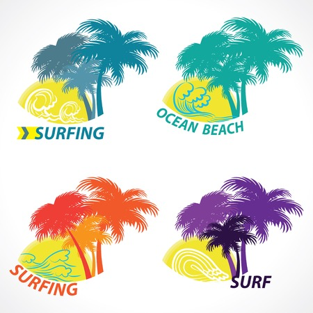 swim wear: surfing beach season. set of print t-shirt graphics