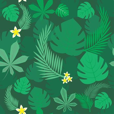 jungle plants: green forest seamless pattern